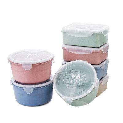 Food Storage Containers Rectangular Round Meal Prep Plastic Lunch Box Kitchen