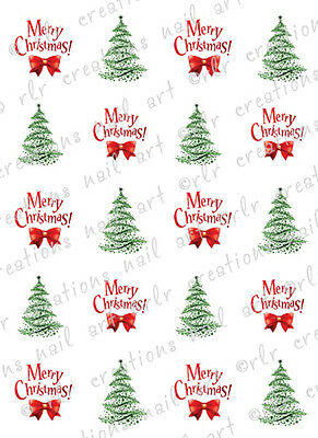 20 Christmas Nail Decals MERRY CHRISTMAS AND TREES Water Slide Nail Decals
