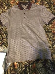 c467a2d1 GUCCI GG ALL OVER LOGO POLO BROWN FITTED CLASSIC MONOGRAM | eBay