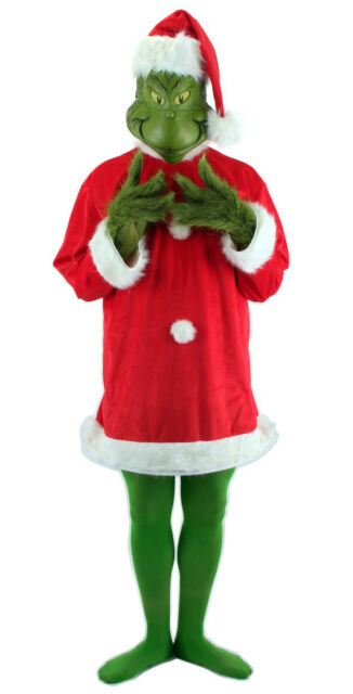 0964a71ffd2 Dr. Seuss How the Grinch Stole Christmas DELUXE Santa Claus Mask Hat  Costume Men