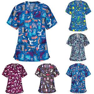 Women-Short-Sleeve-Medical-Scrubs-Nurse-Top-Shirt-Blouse-CHRISTMAS-CUTE-PENGUINS