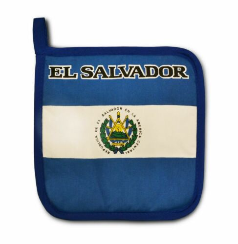 El Salvador Flag Kitchen BBQ Set 3pc Apron Oven Mitt Pot Holder