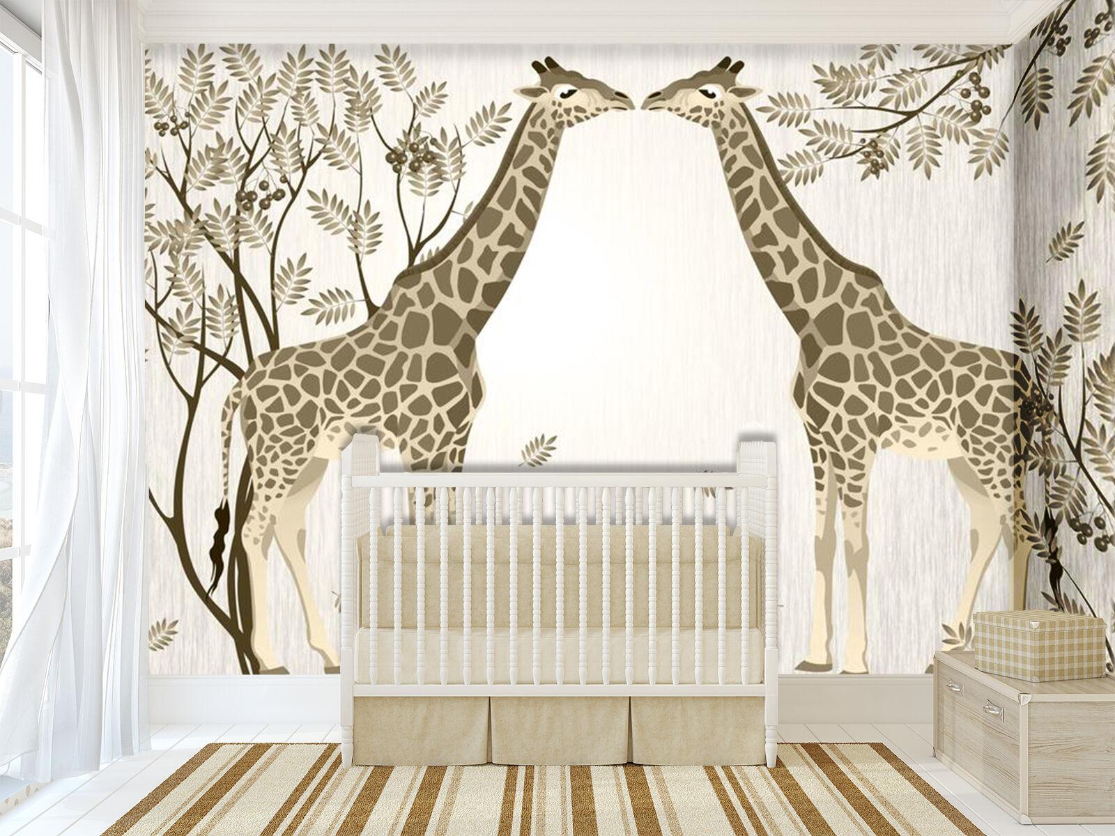 3D Simple Giraffe Tree 203 Wall Paper Wall Print Decal Wall AJ WALLPAPER CA