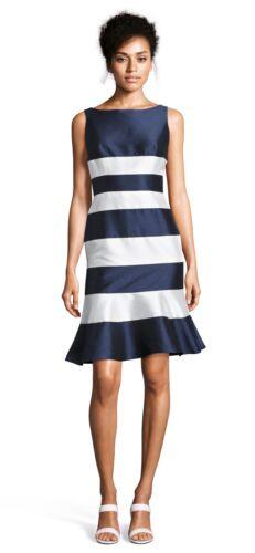 Adrianna Papell Blue White sleeveless stripe dress drop waist NWT Size 0-8 $149