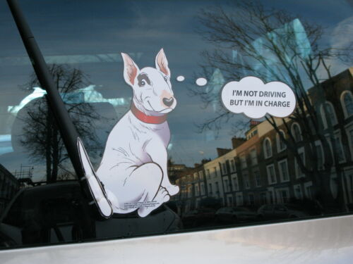 ENGLISH BULL TERRIER OR /'BULLIE/' CAR STICKER GIFT COLLECTABLE WITH WAGGING TAIL