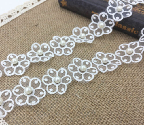 5 Yard Embroidered Flower Applique pearl Lace Trim DIY clothing accesories craft