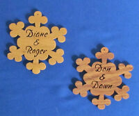 Personalized Couples Snowflake Ornament 2 - Hand Cut From Oak Or Basswood