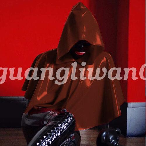 New 100/% Latex Rubber Mysterious Unisex Coat Hoodie Cloak Size S-XXL
