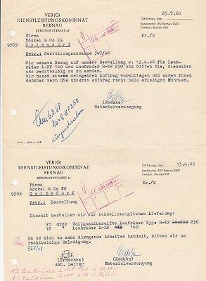 Dienstleistungskombinat Bernau Senility VerzöGern g 2 X Brief 1968 Veb Bernau