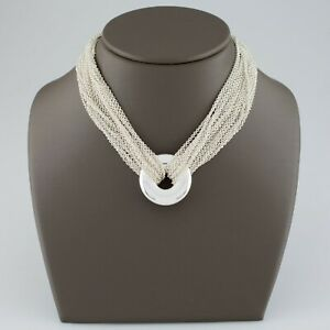 7a14c7990c04a Details about Tiffany & Co. Sterling Silver Multi-Chain Circle Necklace  with Toggle Clasp
