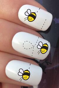 Water Nail Art Cute Buzzy Bee Honey Flight Transfers Decals Stickers