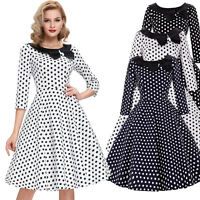 Vintage 50'S Dress Black Polka Dot Sleeve Collar Retro Party Size S-L