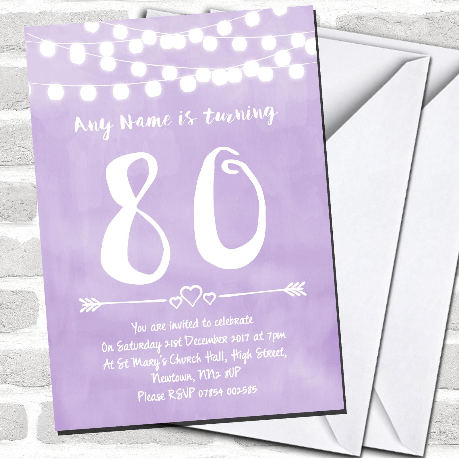 Lila Lilac Lights 80th Birthday Party Invitations 4aff96