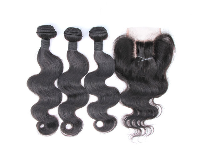 5A Brazilian Virgin Hair Body Wave 3 Way Part Closure With Bundles Freeshipping