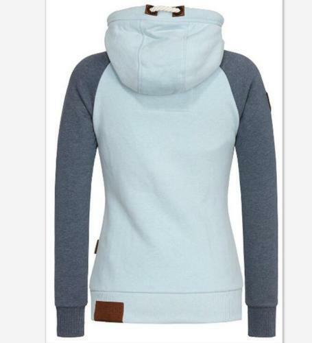 New Damen Hochkragen Sweatjacke Kapuzenpullover Kapuzenjacke  Hoodie Sweater