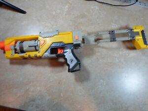 Nerf N Strike Spectre Rev 5 Pistol With Shoulder Stock Folding Accessory Yellow Ebay