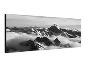 150x50cm panoramabild schwarz weiss bergpanorama berge in wolken alpin ebay. Black Bedroom Furniture Sets. Home Design Ideas