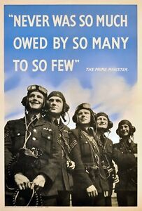 WB62-Vintage-Never-So-Much-Owed-To-So-Few-WW2-World-War-Poster-Print-A2-A3-A4