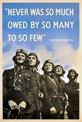 WB62 Vintage Never So Much Owed To So Few WW2 World War Poster Print A2//A3//A4