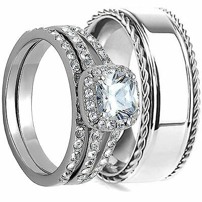 HIS AND HERS STAINLESS STEEL DIAMOND CUT FACETED WEDDING MATCHING BAND RING SET