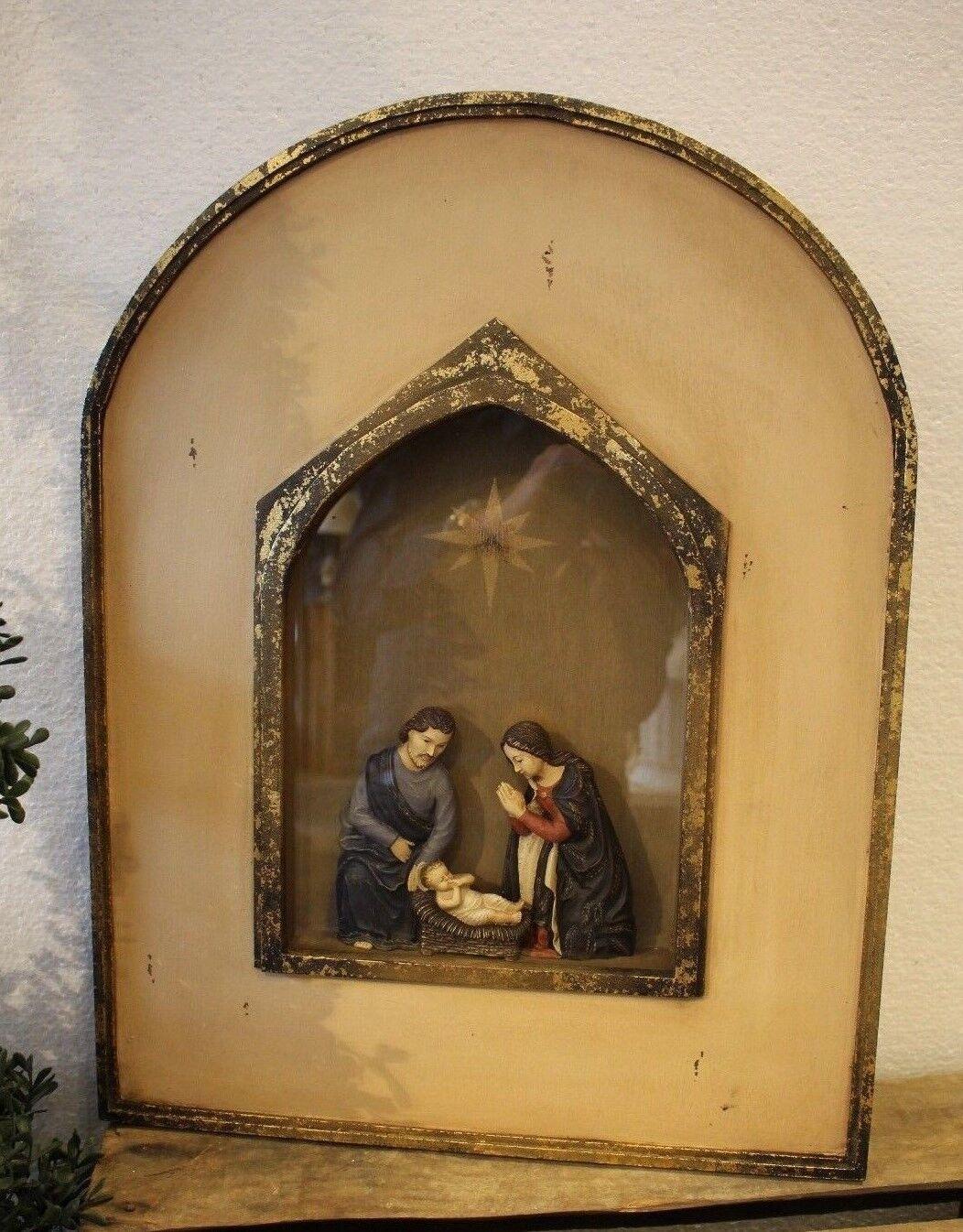 Preciosa imagen sagrada recuadro pesebre krippenfiguren Maria Josef jesús 51,5cm