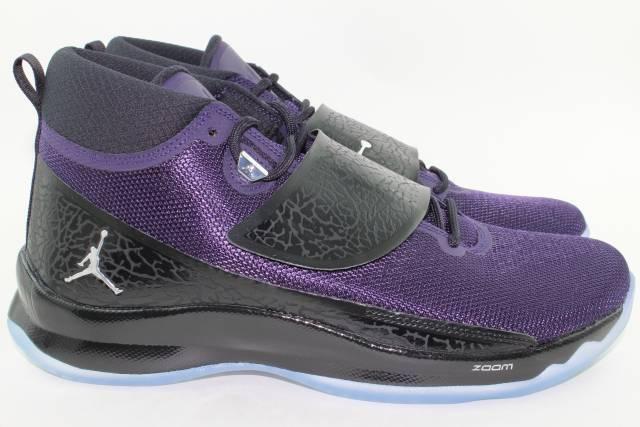 Jordan súper. Fly 5, PO hombres SZ 13.0, Nueva dinastía púrpura, rareza y comodidad.