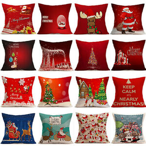 Christmas-Santa-Claus-Deer-Cushion-Cover-Pillow-Case-Car-Home-Xmas-Decor-Novelty