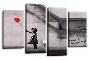 BANKSY-Art-Picture-Red-Balloon-Girl-Canvas-Print-Hope-Love-Wall-Canvas-44-034