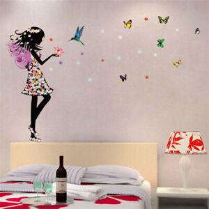 Fee-Schmetterling-Blumen-Maedchen-Wandtattoo-Wandsticker-Aufkleber-Wandaufkleber