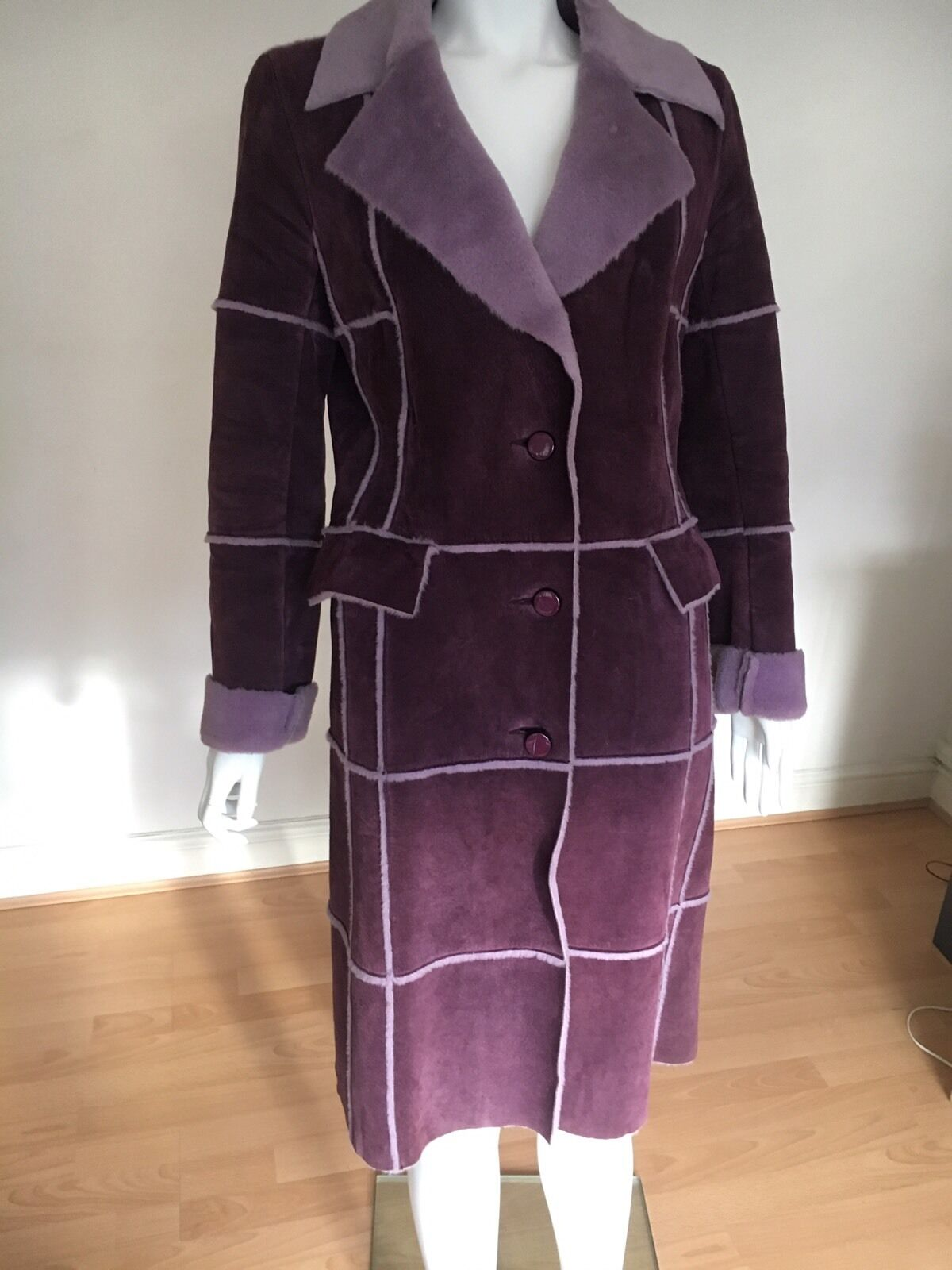 Ladies Jesire Long Purple Leather Coat With Fur Lining UK Size 6