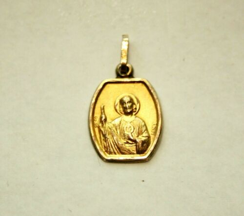 Vintage Sacred Heart of Jesus Religious Medal Brooch  SIGNED A AUGIS
