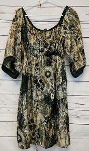 Hale-Bob-Size-M-Silk-Gold-Black-Floral-Boho-Style-Kimono-Style-Mini-Dress