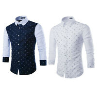 Luxury Mens Casual Slim Fit Stylish Formal Dress Shirts Cotton Long Sleeve Tops