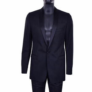 DOLCE-amp-GABBANA-RUNWAY-GOLD-Silk-Lapel-Wool-Blazer-Tuxedo-Jacket-Black-07295