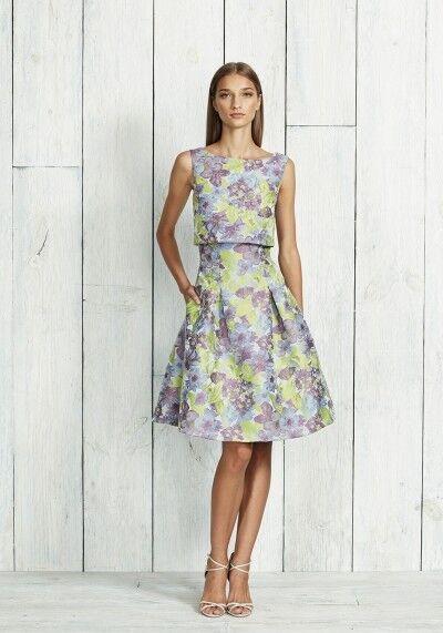 Neuf Pamella Roland Jacquard Robe Dahlia Floral Fête avec à Sequins Haut Court 6