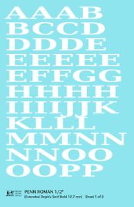 K4 G Decals White 1//2 Inch Penn Roman Letter Number Alphabet Set