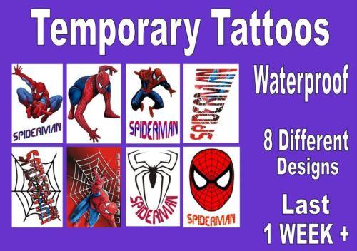 SPIDERMAN heroesTEMPORARY TATTOO kids party LAST 1 WEEK loot bag X8 X16