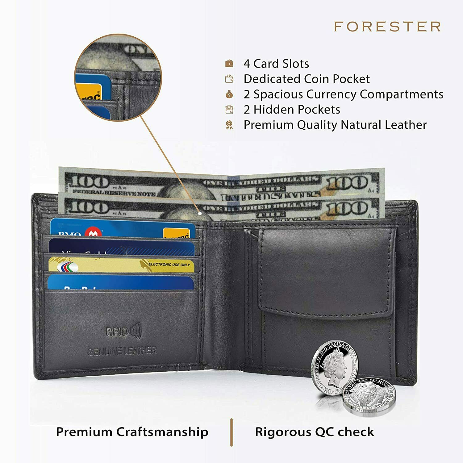 Branded Stylish Black Men's Genuine Leather Wallet/Purse by Forester