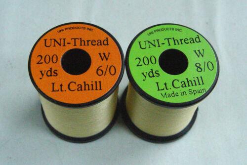 1x200 yards UNI Fil montage JAUNE CLAIR 6-0//8-0 peche mouche thread bobina mosca