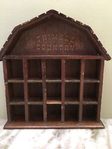 Vintage Enesco Wood THIMBLE COUNTRY Barn Shaped Collection Display holds 15