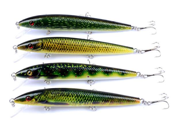 12pcs Minnow Fishing Lures Plastic Bait Wobbler Bass Crankbait Tackle 11CM//13.4g
