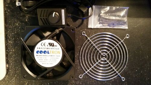 "Cooltron FA1225B11T3-61 120mm Controllable Fan Kit w// 75/"" AC Adapter /& Fan Guard"