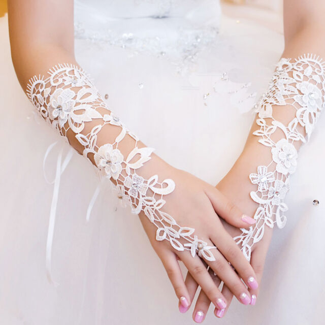 For Wedding Party New Beautiful Lace Pearl Floral Bride Fingerless Gloves White