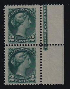 Canada-Sc-36ii-1891-2c-deep-blue-green-Small-Queen-Imprint-Pair-Mint-VF-NH