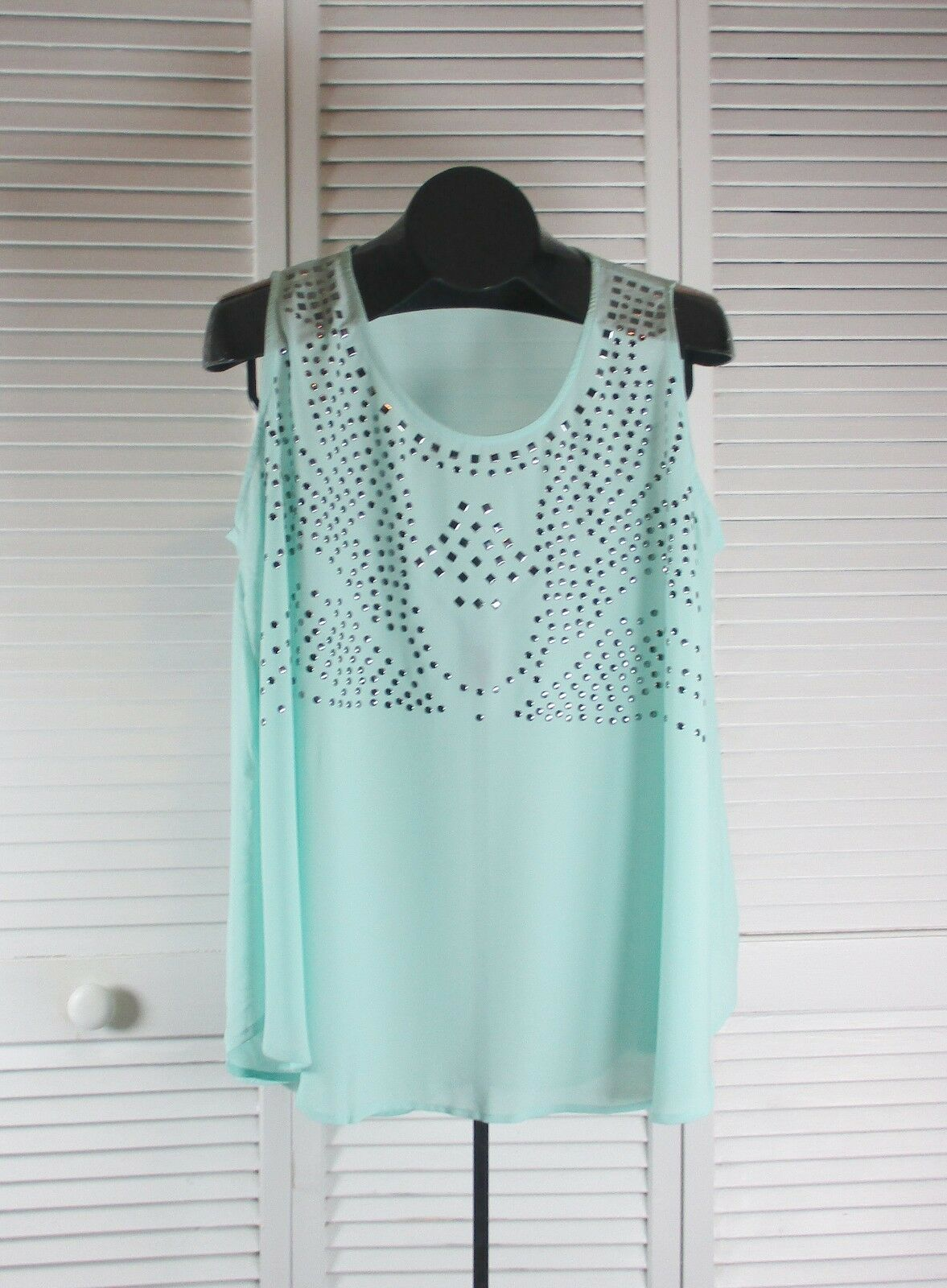 Women's Tops & Blouses blue Pepper NWOT Studded Bell Tank Top Large Aqua (S CAD)