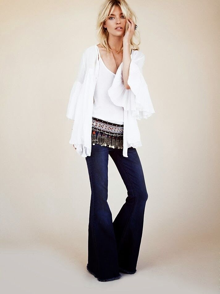 Free People bluee Penny Pull On Flare Jeans Pants 26
