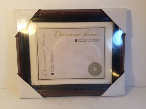 11x14 Blk Trimmed Mahogany Finish Wooden Document Frame w//White Mat-New /& Sealed