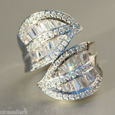 Fashion White Sapphire Birthstone 925 Silver Filled Wedding Bridal Ring Size 9