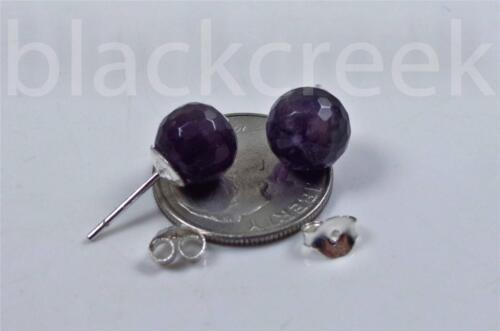 8 mm ~ à Facettes Rondes ~ Améthyste ~ rivets//Post ~ Argent .925 Solitaire Boucles D/'oreilles