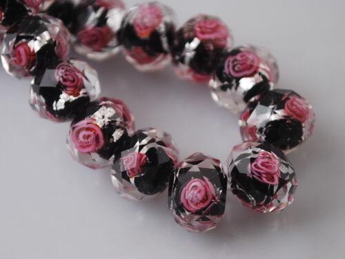 20Pcs Lampwork Verre Fleur Charm Findings Beads À faire soi-même Bijoux Bracelet 8 10 12 mm